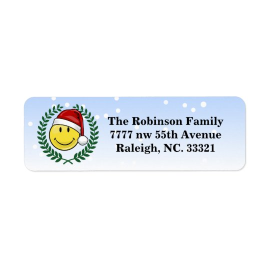 Classic Smiley Face Holiday Style Return Address Label