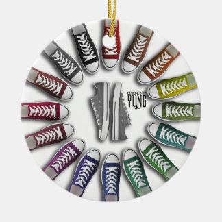 Classic Sneakers Circle Ceramic Ornament