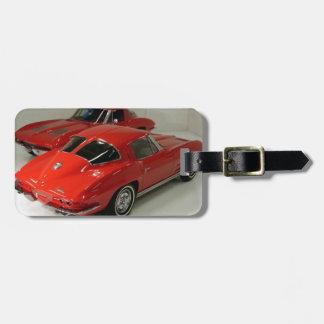 Classic Split Window Red Corvette Luggage Tag