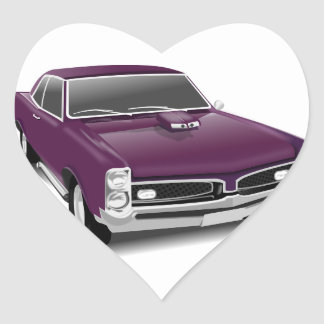 Classic Sports Car Heart Sticker