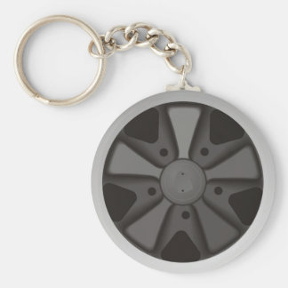 Classic sports car racing wheel used on 911 basic round button keychain