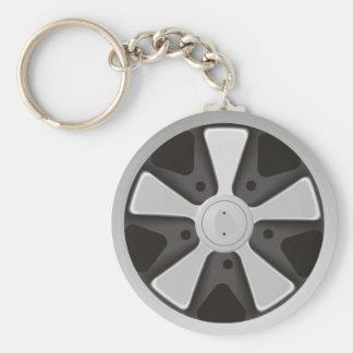 Classic sports car racing wheel used on 911 keychain