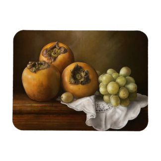 Classic still life with persimmons and grape rectangular photo magnet