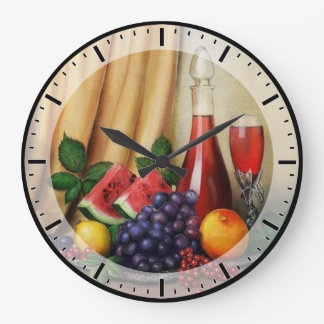 Classic still life with wine and fruits large clock