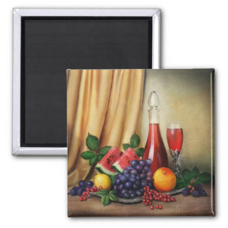 Classic still life with wine and fruits painting magnet