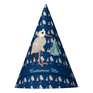 Classic Stork  (Blue) 1 Party Hat
