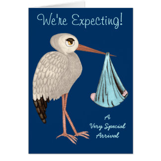 Classic Stork (Blue) (Baby Shower) Card