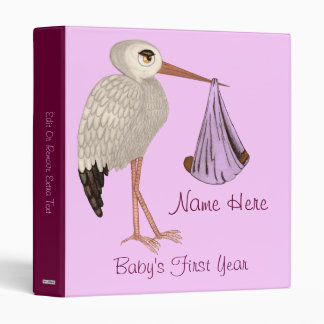 Classic Stork (Pink) 2 (Baby Shower) Binders