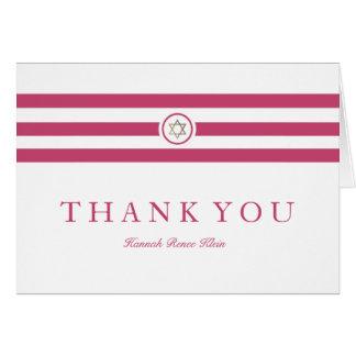 Classic stripe Mitzvah thank you card