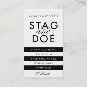 Classic Stripe Stag Doe Ticket Black Business Card