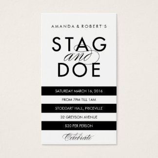 Classic Stripe Stag & Doe Ticket, Black Business Card