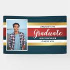 Classic Stripes Graduate Photo Graduation Party Banner