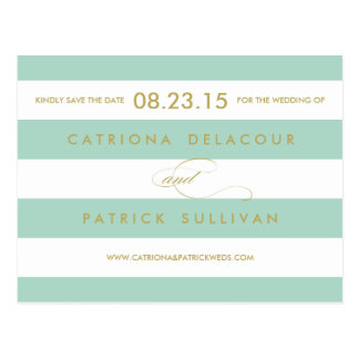 Classic Stripes Mint Save the Date Postcard