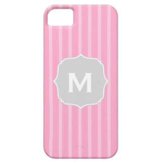 Classic Stripes Monogram Phone Case Pink Grey iPhone 5 Cases