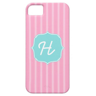 Classic Stripes Monogram Phone Case Pink Turquoise iPhone 5 Cases