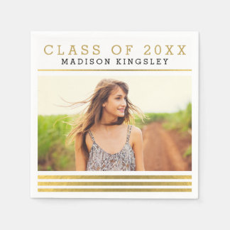 Classic Stripes Photo Graduation Napkins Disposable Napkin