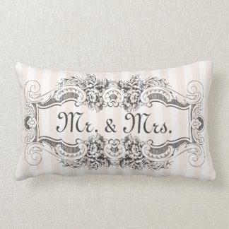 Classic Stripes Victorian Style Frame Mr. & Mrs. Lumbar Pillow