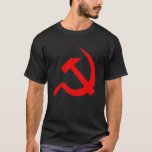 Classic Style Bright Red Hammer & Sickle on Black T-Shirt