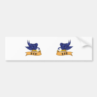 """Classic Swallows With """"Mom"""" and """"Dad"""" Banners Bumper Sticker"""