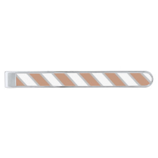 Classic tan and white silver plated tie bar silver finish tie clip