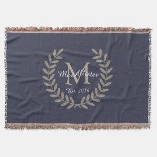 Classic Taupe Laurels Monogram + Family Name Throw Blanket