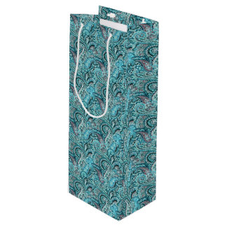 Classic Teal Paisley Wine Gift Bag