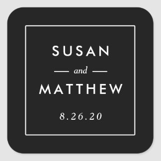Classic Thin Border Custom Wedding Sticker, Black Square Sticker