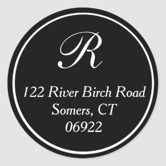 Classic Thin Border Monogram Address Seal in Black
