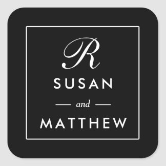 Classic Thin Border Monogram Sticker, Black Square Sticker