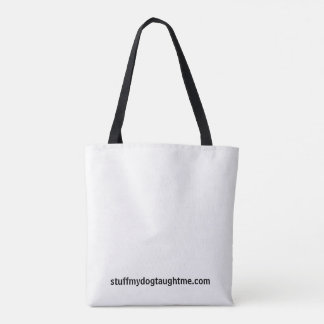 Classic tote bag. White with black lettering.
