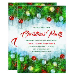 Classic Traditional Merry Christmas Party Card