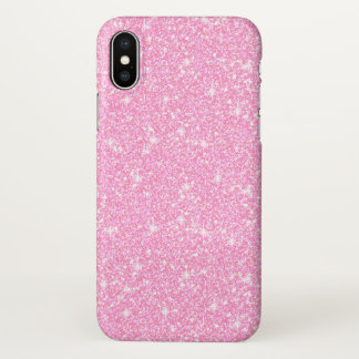 Classic Trendy Pastel Pink Glitter Zazzle iPhone X Case