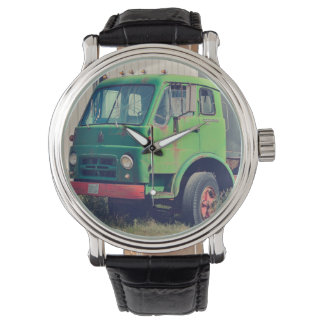 Classic Truck Black Vintage Leather Wristwatches