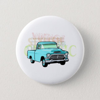 Classic truck in blue, very old turquoise pickup 2 inch round button