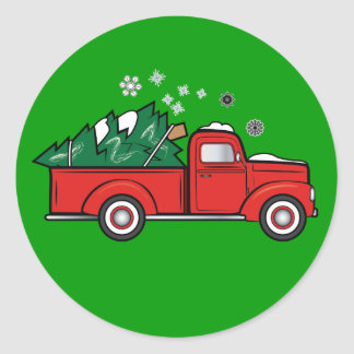 Classic Truck with Holiday Tree in the Snow Round Sticker