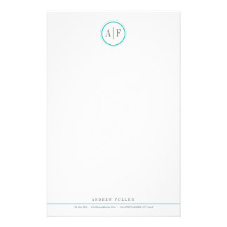 Classic Turquoise Monogrammed Stationery