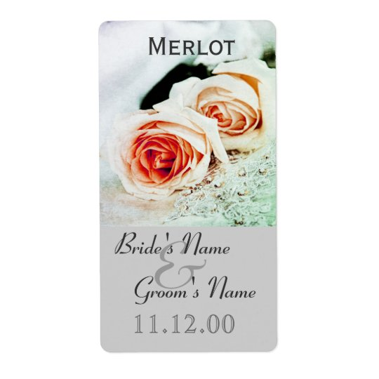 Classic two roses wedding wine bottle lable