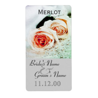 Classic two roses wedding wine bottle lable shipping label