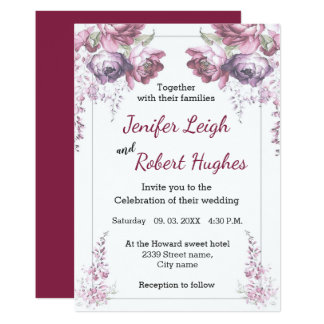 Classic Ultra violet and pink floral wedding Card