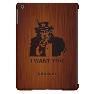 Classic Uncle Sam & Custom Name Luxury Rosewood iPad Air Cover