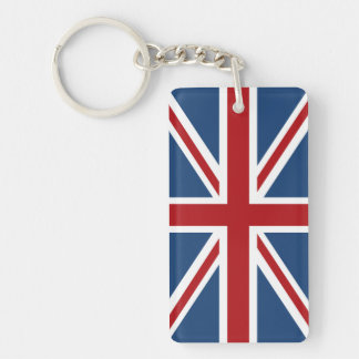 Classic Union Jack UK Flag Double-Sided Rectangular Acrylic Keychain