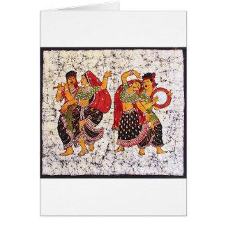 CLASSIC VIBRANT INDIAN BATIK PAINTING CARD
