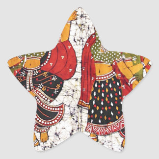 CLASSIC VIBRANT INDIAN BATIK PAINTING STAR STICKERS