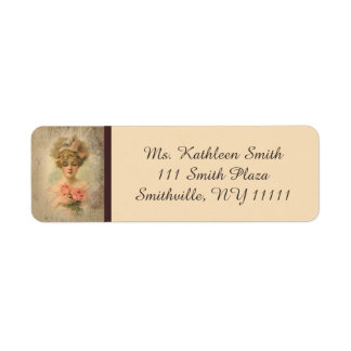 Classic Victorian Lady With Roses Address Labels
