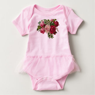 Classic Victorian Roses Lily of the Valley Romance Baby Bodysuit