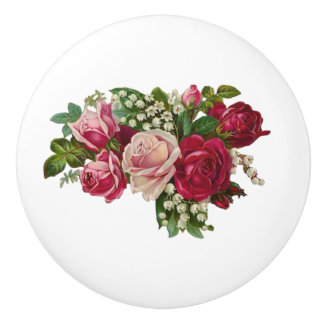 Classic Victorian Roses Lily of the Valley Romance Ceramic Knob
