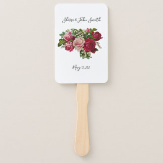 Classic Victorian Roses Lily of the Valley Romance Hand Fan