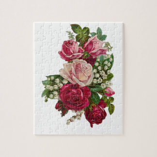 Classic Victorian Roses Lily of the Valley Romance Jigsaw Puzzle