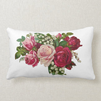 Classic Victorian Roses Lily of the Valley Romance Lumbar Pillow