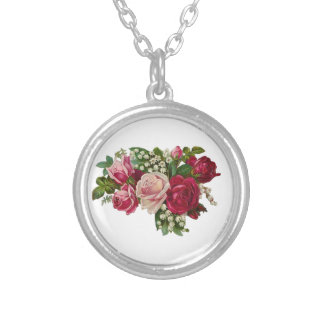 Classic Victorian Roses Lily of the Valley Romance Silver Plated Necklace